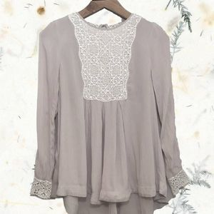 Free People Long Sleeve Blush Eyelet Bib Blouse